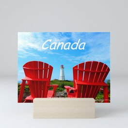 Chairs and Lighthouse, Canada Mini Art Print