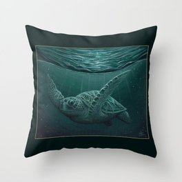 """""""Eclipse"""" by Amber Marine - Sea Turtle, Acrylic Painting, (Copyright 2015) Throw Pillow"""