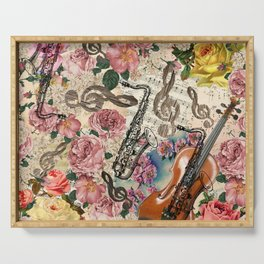 Vintage pink bohemian roses classical notes musical instruments Serving Tray