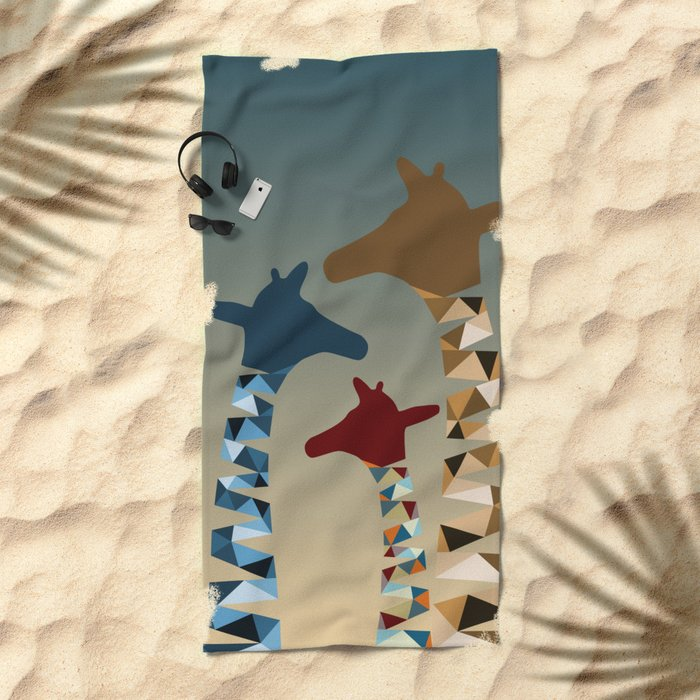 Family Beach Blanket: Abstract Colored Giraffe Family Beach Towel By