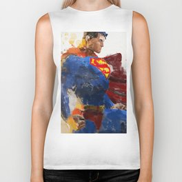 Watercolour Superman Biker Tank