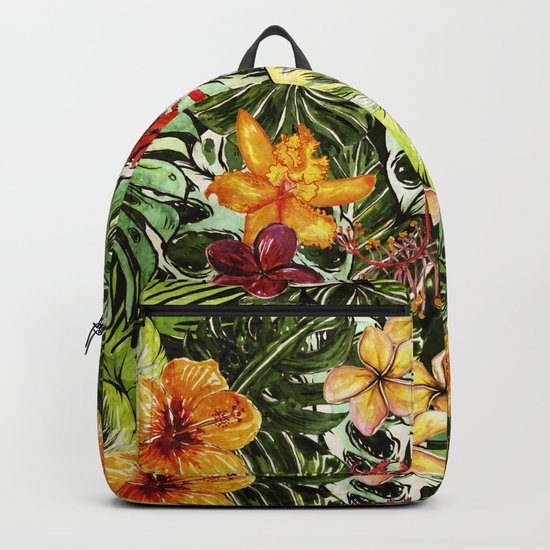 Tropical Vintage Exotic Jungle Flower Flowers - Floral watercolor pattern1on #Society6 Backpack