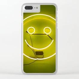 YELLOW SMILE NEON SIGN Clear iPhone Case