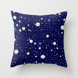 Universe pattern; Moon, Stars and Neptune Throw Pillow