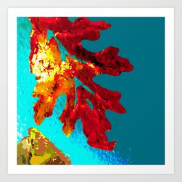Flaming Orange Oak Leaf, painted acrylic, digitally altered Art Print