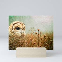 Barred Owl in Foggy Forest Mini Art Print