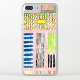 Friendly Pattern Mix On Pink Clear iPhone Case