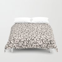 gray pattern Duvet Covers featuring A Lot of Cats by Kitten Rain