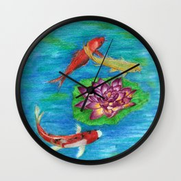 Orange Koi Wall Clock