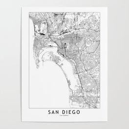 San Diego White Map Poster