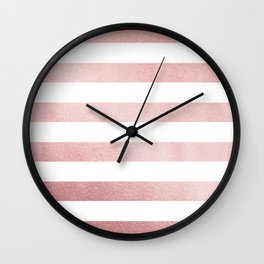 Simply Stripes in Rose Gold Sunset Wall Clock