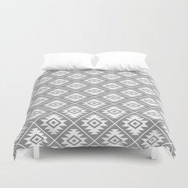 Aztec Symbol Pattern White on Gray Duvet Cover