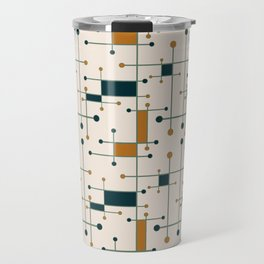 Intersecting Lines in Cream, Blue-Green and Orange Travel Mug
