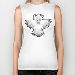 Strange Hummingbird 1.White on black background. Biker Tank