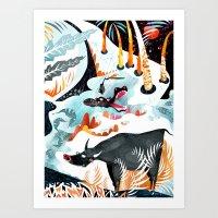 jungle Art Prints featuring Jungle by Adelina Mehmeti
