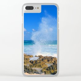 Cozumel teal water ocean crash wave water spout Clear iPhone Case