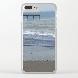 Waves attacking the pier Clear iPhone Case