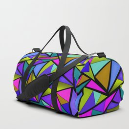 An abstract geometric pattern . Brightly colored triangles . Duffle Bag