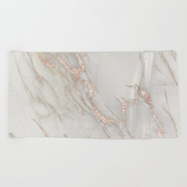 Marble Rose Gold Blush Pink Metallic by Nature Magick Beach Towel