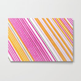 Slanted Variegated Pink Stripes Metal Print