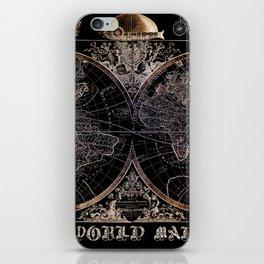world map old vintage black iPhone Skin