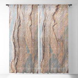 Eucalyptus Tree Bark and Wood Texture 18 Sheer Curtain