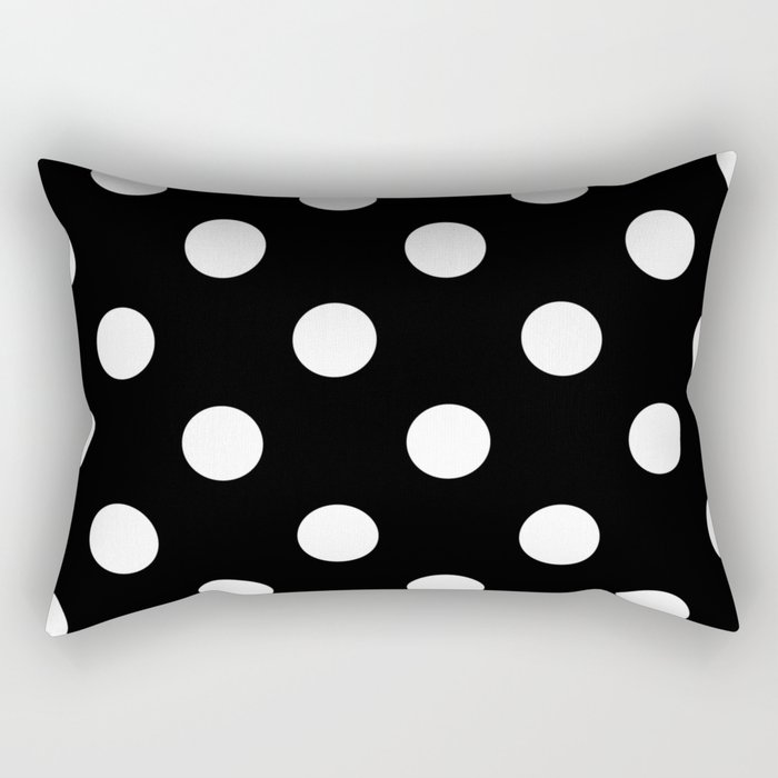 Polkadot (White & Black Pattern) Rectangular Pillow