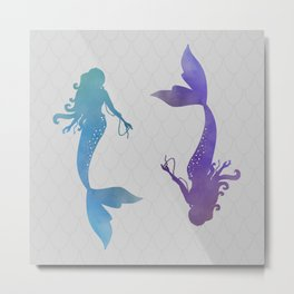 blue & purple mermaid Metal Print