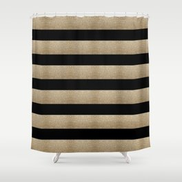 preppy contemporary minimalist great gatsby champagne black gold stripes Shower Curtain