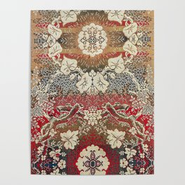 Botanical Embroidery II // Flowery Colorful Red Blue Green Yellow Tan Ornate Accent Rug Pattern Poster