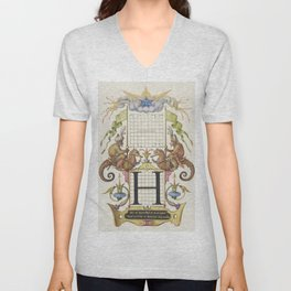 Guide for Constructing the Letter H from Mira Calligraphiae Monumenta or The Model Book of Calligrap Unisex V-Neck