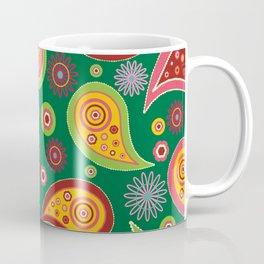 Oriental Persian Paisley - Green Yellow Red Coffee Mug