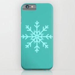 Turquoise Blue Snowflake on Aqua Blue iPhone Case