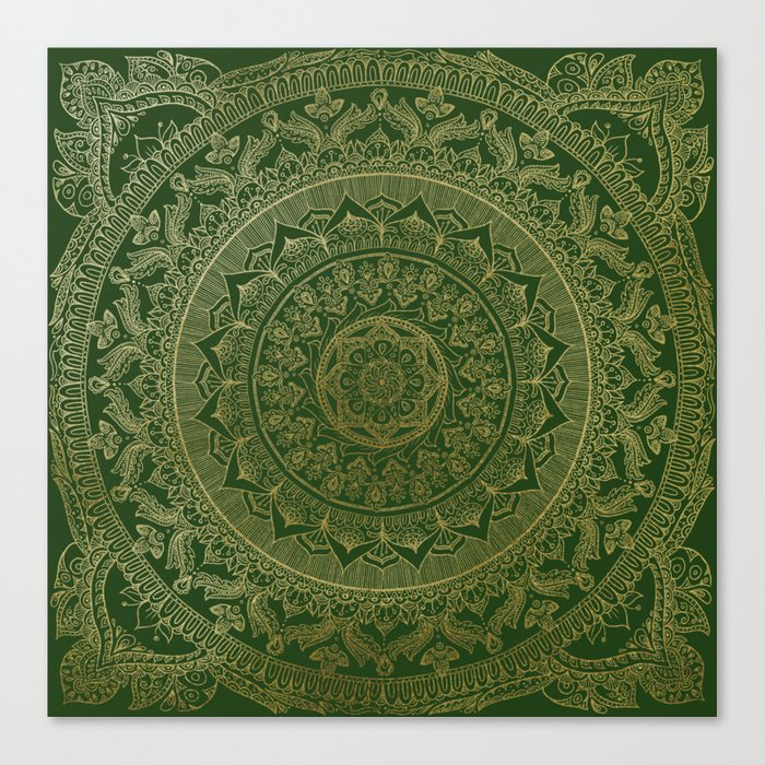 Mandala Royal - Green and Gold Leinwanddruck
