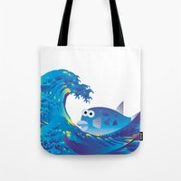 hokusai Tote Bags featuring Hokusai Rainbow & Globefish  by FACTORIE