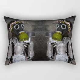Household robot with gasmask Rectangular Pillow