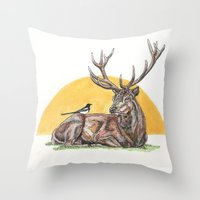 stag Throw Pillows featuring Stag by Meredith Mackworth-Praed