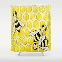 "bees Shower Curtains featuring ""Bees"" by Nicole Jolley"