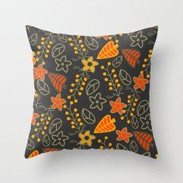 Golden falling leaves Throw Pillow