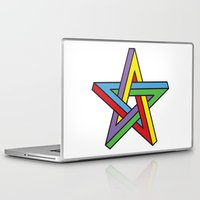 pentagram Laptop & iPad Skins featuring Impossible Pentagram by Stephen Kemmy Graphic Designer