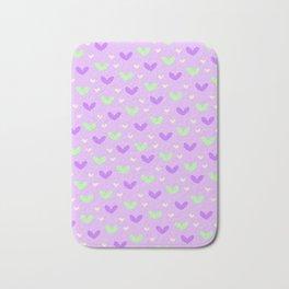 Purple and Green Hearts Bath Mat