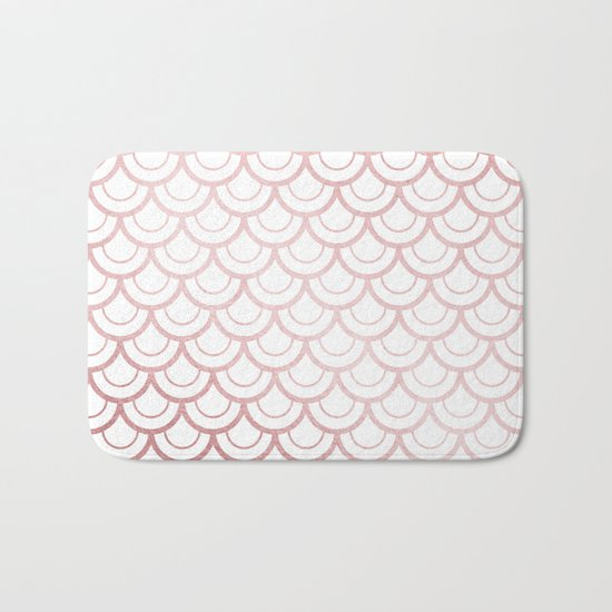Simply Mermaid Scales in Rose Gold Sunset Bath Mat