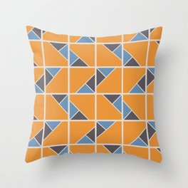 Retro Geometry surface pattern (Orange-blue) Throw Pillow
