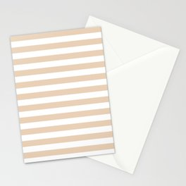 Narrow Horizontal Stripes - White and Pastel Brown Stationery Cards