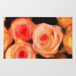 Pink and Orange Fractured Roses Rug