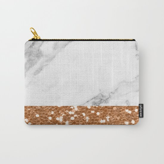Marble and brass glitter Carry-All Pouch