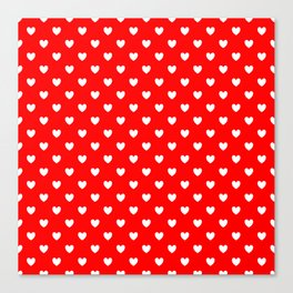 White Hearts on Scarlet Red Canvas Print