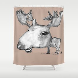 NORDIC ANIMAL - MURIAL THE MOOSE / ORIGINAL DANISH DESIGN bykazandholly  Shower Curtain