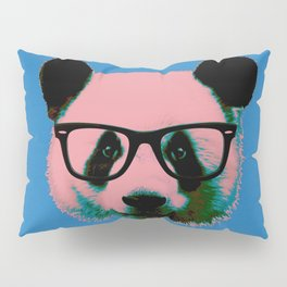 Panda with Nerd Glasses in Blue Pillow Sham