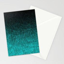 Aqua & Black Glitter Gradient Stationery Cards
